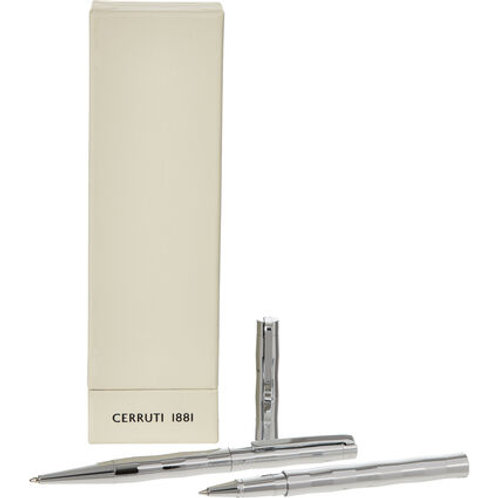 CERRUTI 1881 Two Pack Chrome Tambour Ballpoint Pens