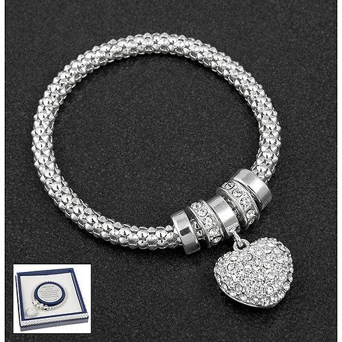 Silver Heart Shaped Bracelet