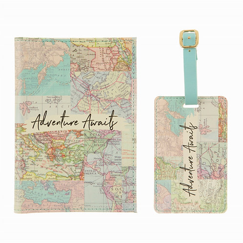 Retro World Map Themed Travel Set