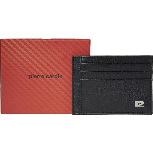 PIERRE CARDIN Black Leather Card Holder