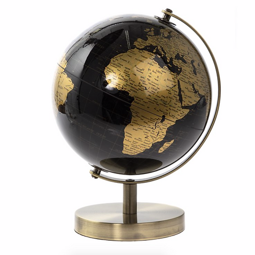 Black & Gold Vintage Rotating Globe Ornament