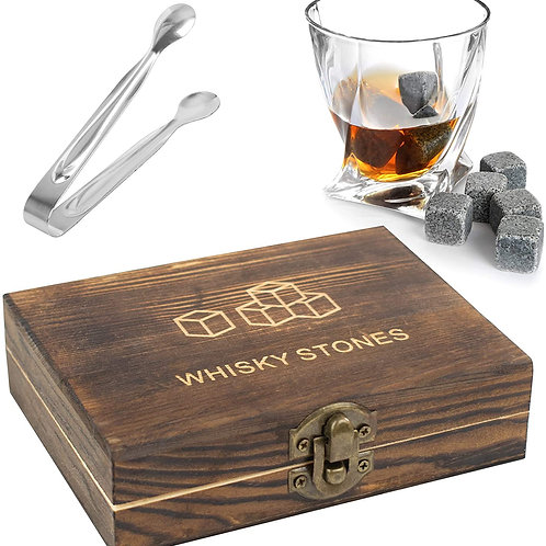 Whisky Stones Gift Set - 9PC Whiskey Stones in Wooden Gift Box