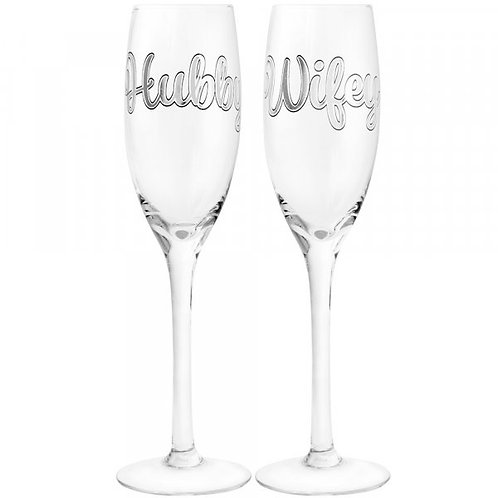 Silver Hubby & Wifey Champagne Flute