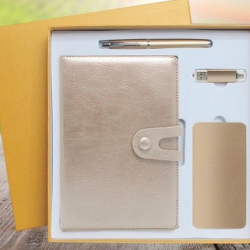 Gold 4 in 1 corporate Gift Set (Pen Journal power bank Pen)