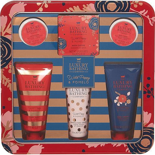 THE LUXURY BATHING COMPANY Red Wild Poppy & Pomelo Five Piece Bathing Set