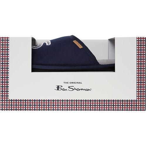 BEN SHERMAN Navy & Grey Logo Felt Slippers
