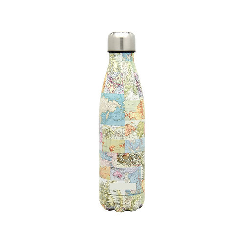 Retro Travel Map Water Bottle