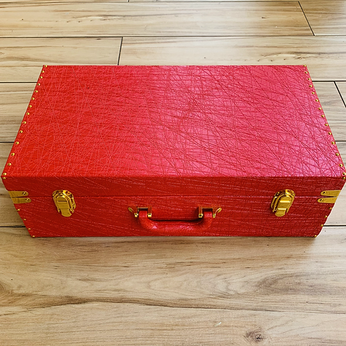 Red Trunk Luxury For Hamper with Gold Accessories