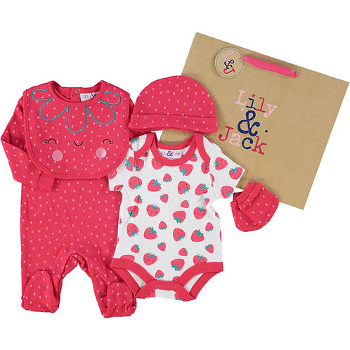 LILY & JACK Red Strawberry Set (Five Piece) 3 - 6 Months