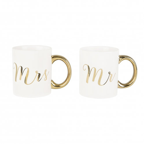 Mr & Mrs Gold Mug Set