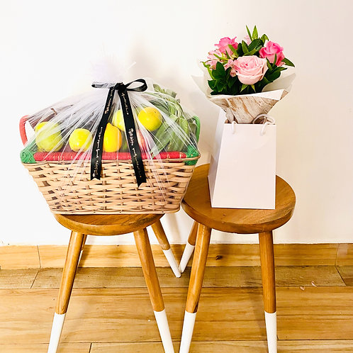 Seasonal Fruit Basket + Bouquet of Flowers (Medium)