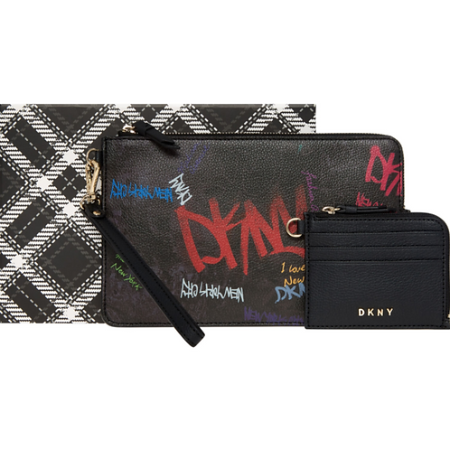 DKNY Black Graffiti Clutch Bag & Card Purse