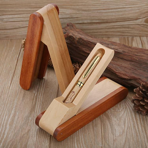 Customised Engraved Wooden Pen + Stand