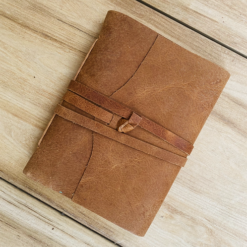 Vintage Oil- Pull-Up Leather Journal with string closure (Unlined)