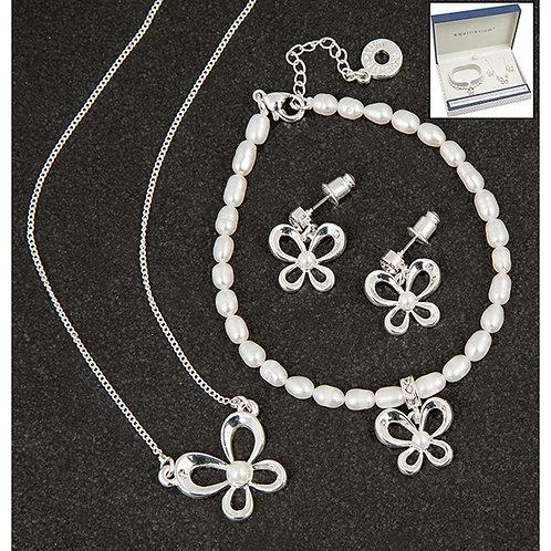 Pearl Butterfly Necklace + Bracelet + Earring