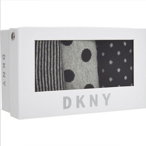 DKNY Black & Grey Socks Three Pack Set For Women