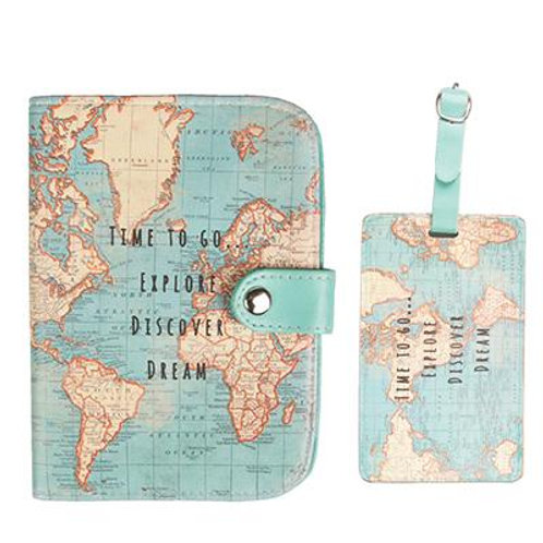 Travel Themed Passport Holder + Luggage Tag