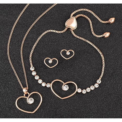 Diamond Swirl Heart Necklace+Bracelet+Earring