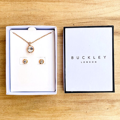 BUCKLEY LONDON Rose Gold Tone Embellished Jewellery Set