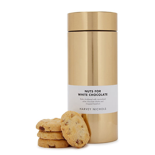 HARVEY NICHOLS Nuts For White Luxury Chocolate Shortbread Gold Tin 200g