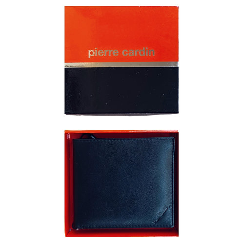 PIERRE CARDIN Black Leather Bifold Card Wallet