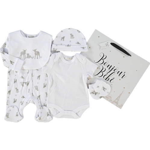 BONJOUR BEBE White Sleepsuit Set (Five Piece) 3 - 6 Months