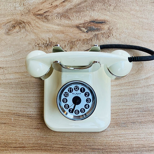 Miniature Cream Telephone Inspired Clock