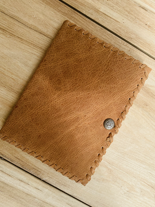 Handmade Leather Unlined Journal with button - Genuine Leather