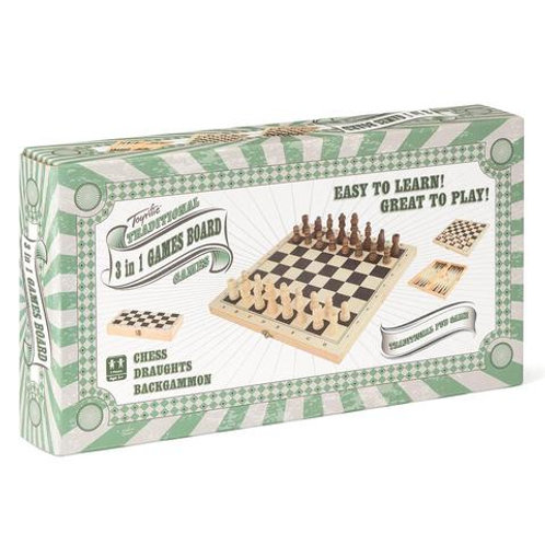TOYRIFIC Traditional 3-In-1 Games Board