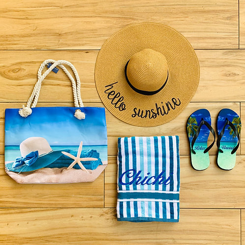 Personalised Hat,Tote Bag,Towel & FlipFlops