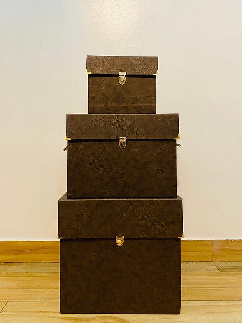 Custom Extra Large Leather Trunk Box