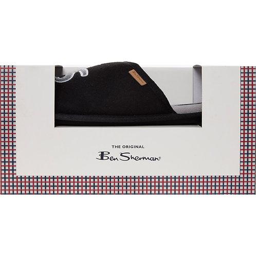 BEN SHERMAN Black Fluffy Emblem Mule Slippers
