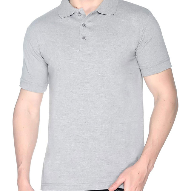 Grey Melange Polo T shirt