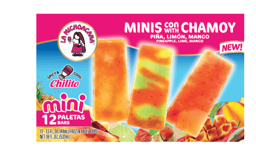 Our Mini Paleta variety pack offers a snack-size opportunity to refresh your taste buds with cool and spicy mango, piña, or limón with a swirl of chamoy and a touch of chili spices.