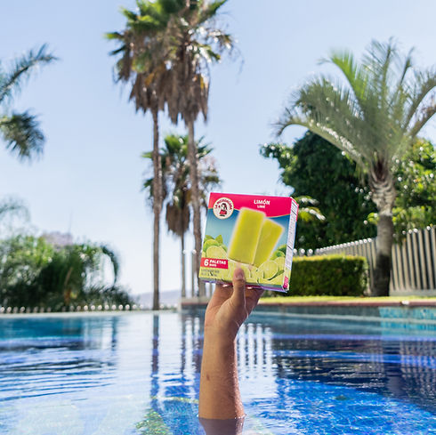 La Michoacana Lime Paletas Limon Frozen Fruit Bars Held in Pool
