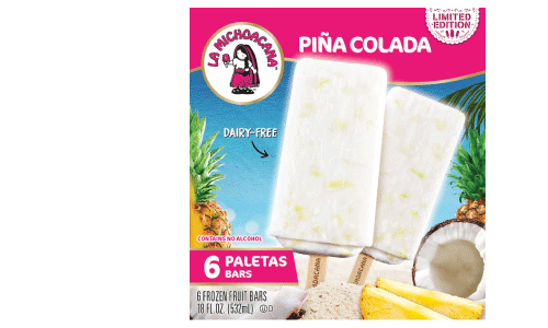 Three words, Piña Colada paleta! Amor at first bite with ingredients you can see and taste! Bite into endless coconut shreds and pineapple chunks, all the while being lost in the creaminess of our non-alcoholic and dairy-free Piña Colada mix.