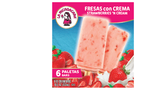 Experience tradition, our Fresas con Crema paleta is made with strawberry chunks and creamy ice cream. With every bite, our paleta takes you back to warm summer days enjoying Fresas con Crema in the plaza.