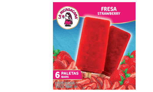 Five words: Agua. Fresca. On. A. Stick. Our paleta de Fresa offers the sweetness of strawberry chunks all the while refreshing your taste buds! Crafted by (with) the finest of fresas for the momentos that matter the most!