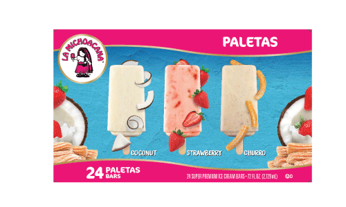 Enjoy the authenticity of fresas con crema, the traditional crunch of churros, or the tropical getaway experience of our coco paletas all in one pack.