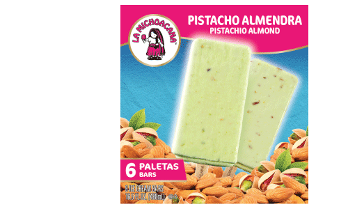 Two superfoods unite to create our smooth, creamy Pistachio Almond paleta that you can indulge in any time of the year! Start by biting into the creaminess of the pistachio ice cream all the while enjoying the finest of almond pieces.