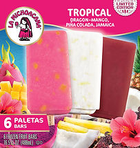 La Michoacana Limited Edition B Tropical Paletas Frozen Fruit Bars Dragon Mango - Pina Colada - Jamaica