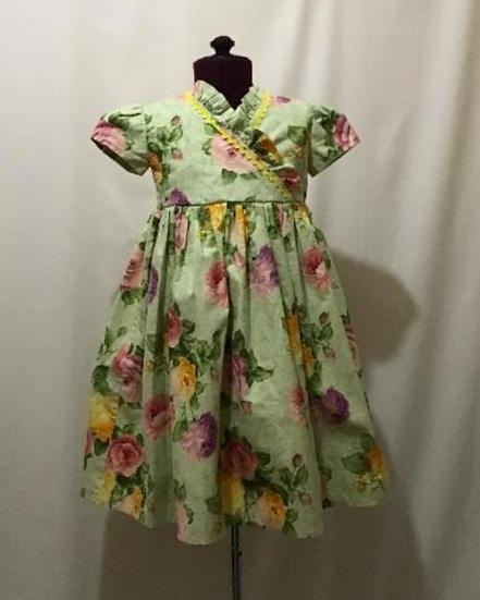 Green Cotton Dress, Short Sleeves Ruffle Dress, Elegant Floral Dress