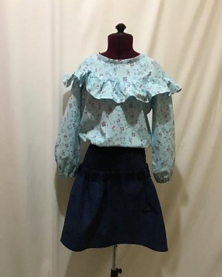LIMITED SET Blue Ruffle Blouse and Denim Skirt, 2 pieces