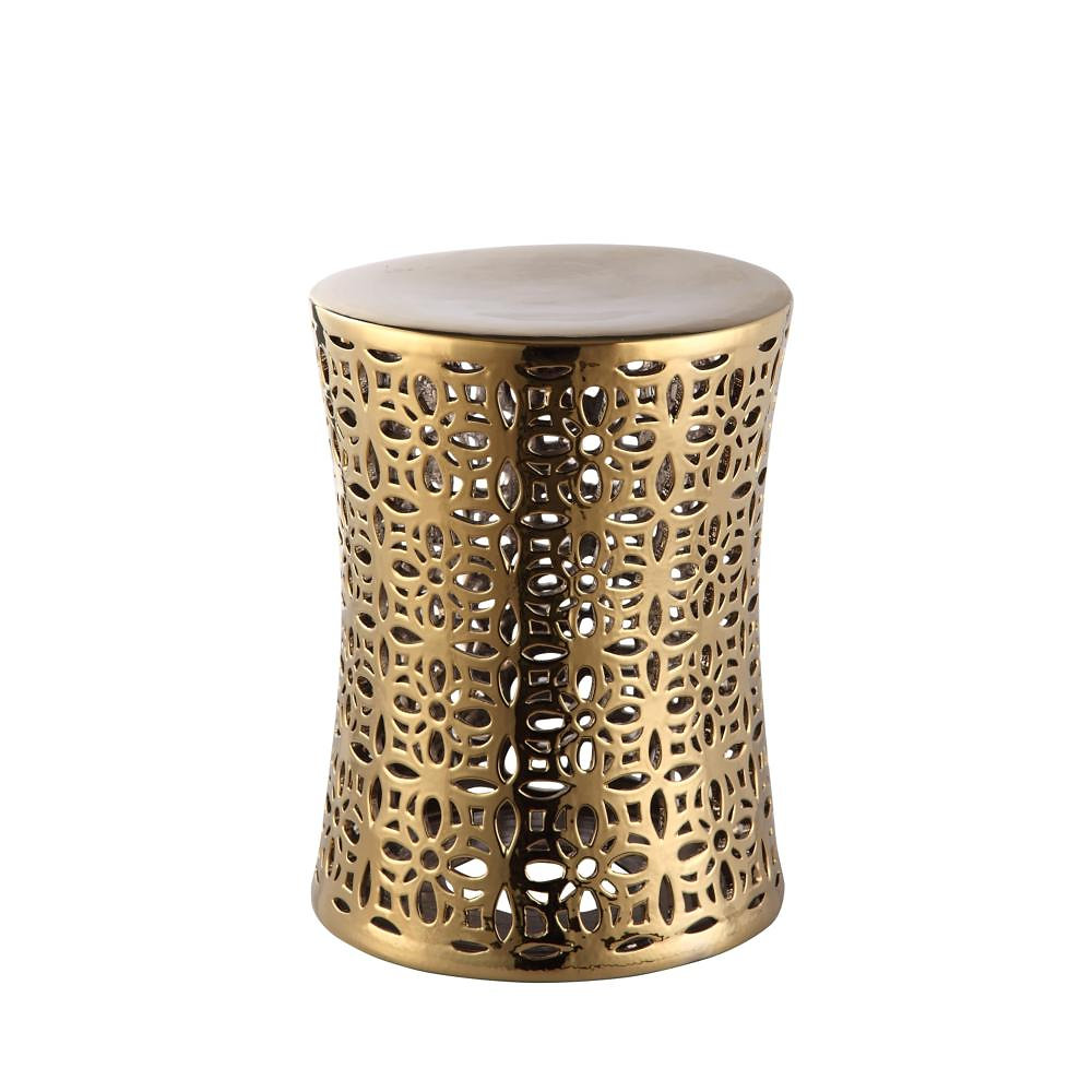 The Ionian Stool Features A Repeating Flower Pattern, Cut Out Of The Ceramic  And Finished In A Shiny Gold Finish. Perfect As A Stool Or Small Accent  Table.