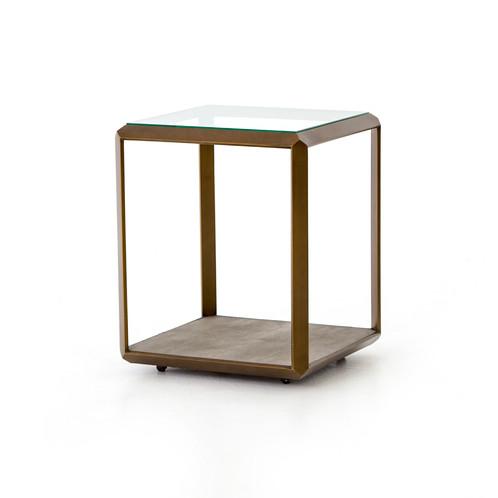 Incroyable DANTON SHAGREEN SHADOW BOX END TABLE SHAGREEN SHADOW BOX CONSOLE ANTIQUE  BRASS