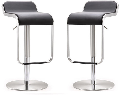 Brilliant Arven Black Stainless Steel Barstool Set Of 2 Ncnpc Chair Design For Home Ncnpcorg