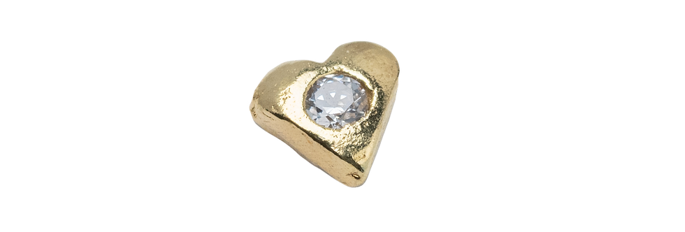 18k Gold with White Crystal