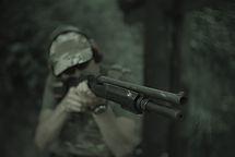 Strzelba. Shotgun. Strzelanie.