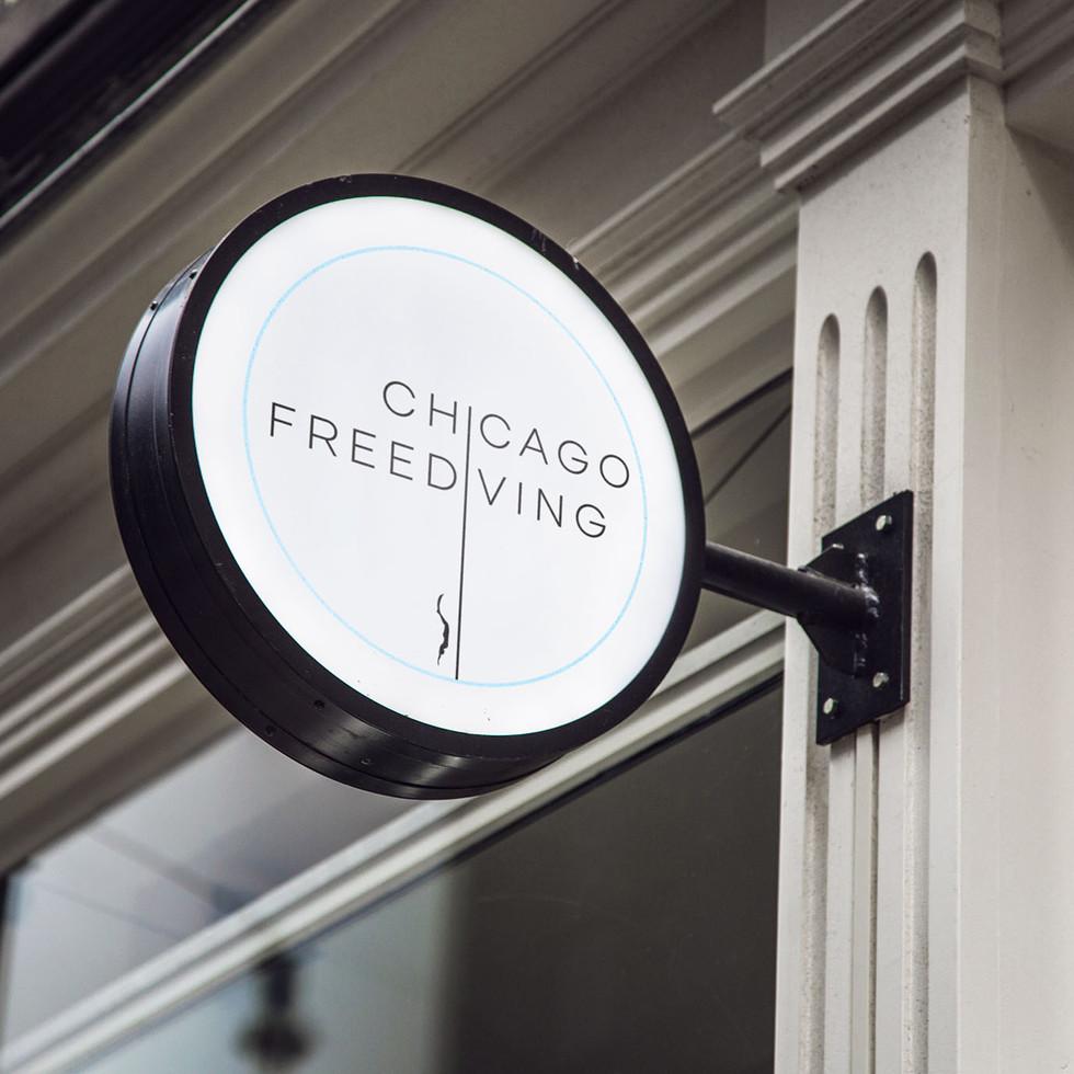 Chicago Freediving Logo on Signage