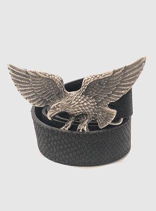 Cinturón Cuero Negro Escamas Aguila Grafito